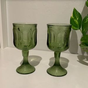 Set of two Fostoria Textured Green Goblets